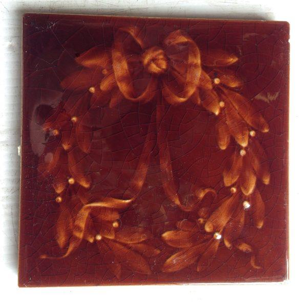 6 original American Encaustic Tile Co fire place tiles, $ 150 the set. Set 32