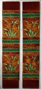 Victorian fireplace tile panels, original tiles and arrangement, some historical repairs $170 salvaged recycled demolition, reproduction, restoration, renovation,collectable, secondhand, used , original, old, reclaimed, heritage, antique, victorian, edwardian, georgian art nouveau ceramic arts and crafts decorative aesthetic