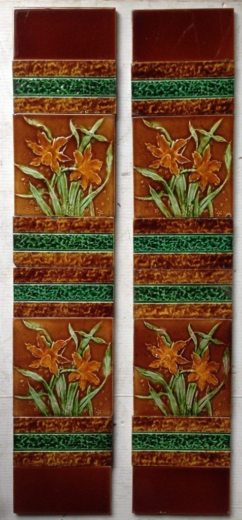 Victorian fireplace tile panels, original tiles and arrangement, some historical repairs $170 salvage recycled demolition, reproduction restoration, renovation, collectable, secondhand, used, original, old, reclaimed heritage, antique restored