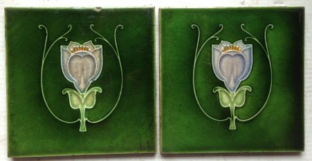 pair of original picture tiles 152 mm x 152 mm, $55 the pair salvage recycled demolition, reproduction restoration, renovation, collectable, secondhand, used, original, old, reclaimed heritage, antique restored
