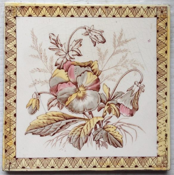 Victorian fireplace tiles transfer print with hand painted colour 6x6 inch. 3 available, $27.50 each. SET 84 salvage recycled demolition, reproduction restoration, renovation, collectable, secondhand, used, original, old, reclaimed heritage, antique restored