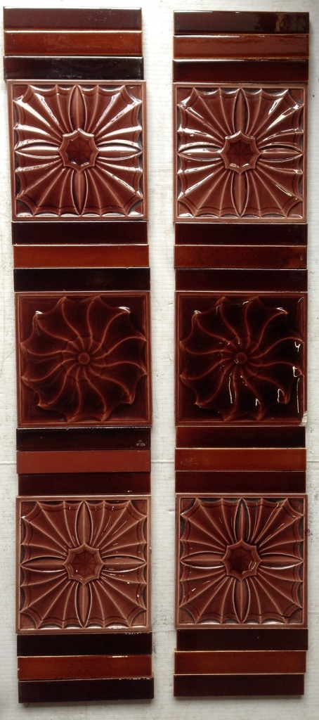 unusual original tile set for fireplace, each side consists of 3, 6 inch x 6 inch picture tiles and 12 6 inch x 1 inch plain tiles, $ 200 the set . Set23 salvage recycled demolition, reproduction restoration, renovation, collectable, secondhand, used, original, old, reclaimed heritage, antique restored