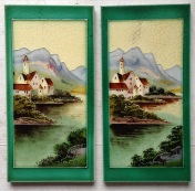 original 12inch Victorian tiles $240 pair good condition salvage recycled demolition, reproduction restoration, renovation, collectable, secondhand, used, original, old, reclaimed heritage, antique restored