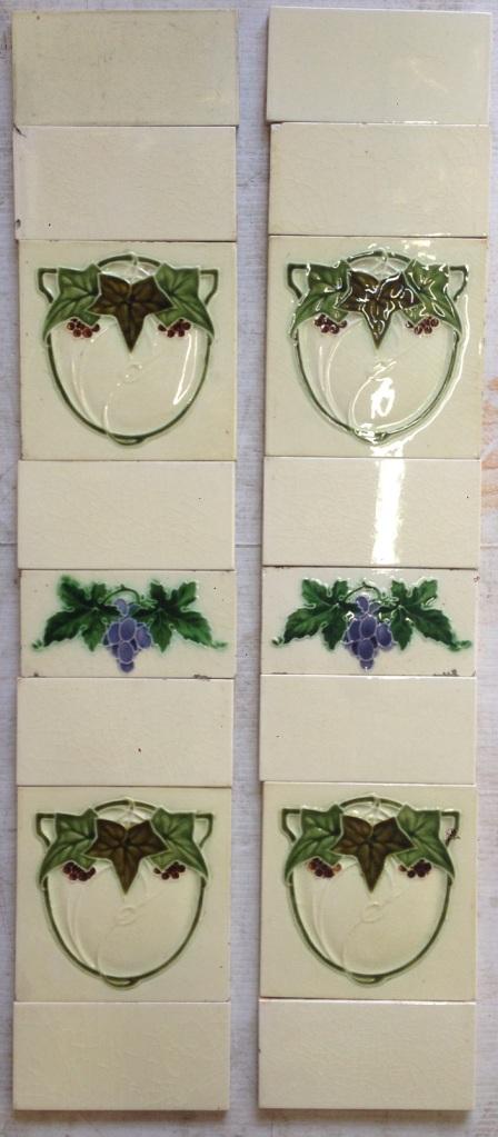 Grape vine and ivy original design fireplace tiles, cream background, some chips $160 for both panels salvage recycled demolition, reproduction restoration, renovation, collectable, secondhand, used, original, old, reclaimed heritage, antique restored