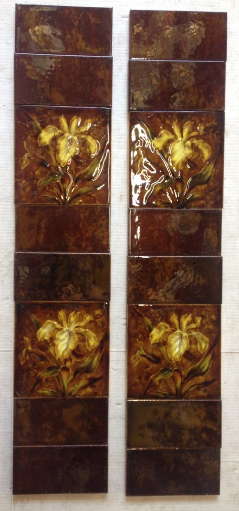 original fireplce tile set , 4 x picture tiles mixed with 12 half tiles , $160 the set salvage recycled demolition, reproduction restoration, renovation, collectable, secondhand, used, original, old, reclaimed heritage, antique restored