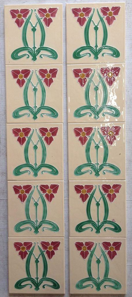 Reproduction fireplace tiles 'Water plantain' cream background with pink Art Nouveau style flowers, 10 tile set, $330 SET 17 Reproduction fireplace tiles, cream background with pink Art Nouveau style flowers, 10 tile set, $330 SET 17