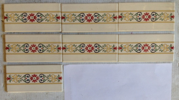 Reproduction continuous pattern tiles, 152 x 76 x 6mm, 7 available, off white base glaze with pale yellow, green, blue and pink decal (fired). $8 each SET 209 salvaged recycled demolition, reproduction, restoration, renovation,collectable, secondhand, used , original, old, reclaimed, heritage, antique, victorian, edwardian, georgian art nouveau ceramic arts and crafts decorative aesthetic