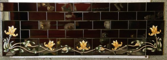 Reproduction tile hearth set, deep green with yellow iris border w1370 x d456mm $480 salvaged recycled demolition, reproduction, restoration, renovation,collectable, secondhand, used , original, old, reclaimed, heritage, antique, victorian, edwardian, georgian art nouveau ceramic arts and crafts decorative aesthetic