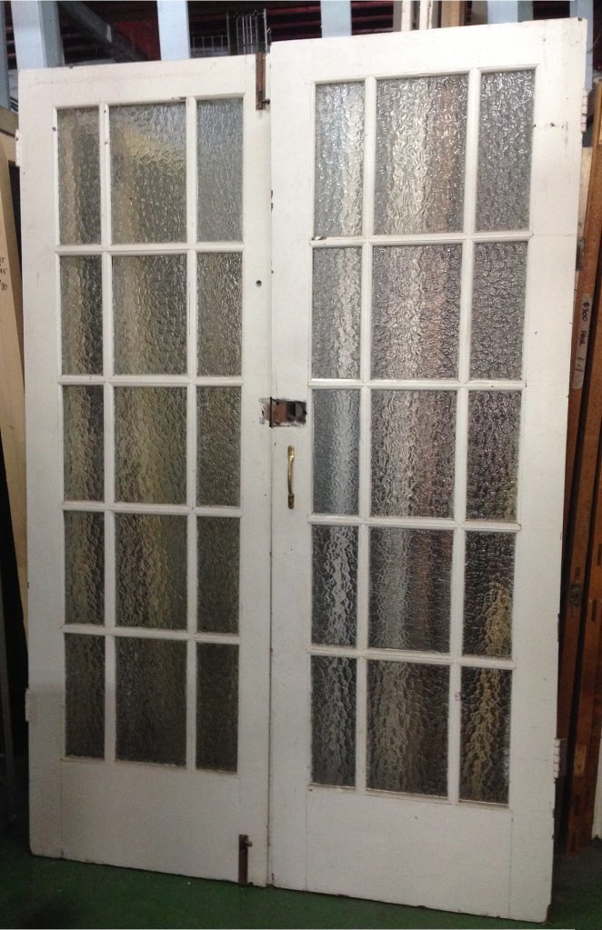 French doors, ripple glass panels w1340 x h2065mm $385 salvage recycled demolition, reproduction restoration, renovation, collectable, secondhand, used, original, old, reclaimed heritage, antique restored