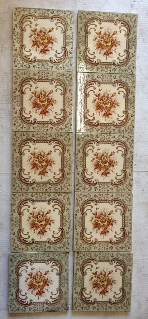 Original Victorian fireplace tiles with 3 very similar sets with slight colour variations. 2 tile pair; 5 tile set; and a 10 tile set. [set 6/OTB] $27.50 each tile,