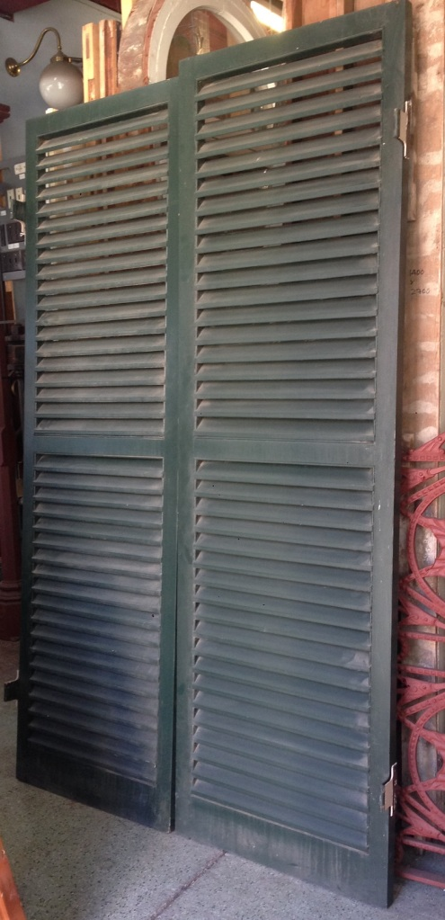 Pair if window louvre shutters w1400 x h2285mm $440 salvage recycled demolition, reproduction restoration, renovation, collectable, secondhand, used, original, old, reclaimed heritage, antique restored salvage recycled demolition, reproduction restoration, renovation, collectable, secondhand, used, original, old, reclaimed heritage, antique restored