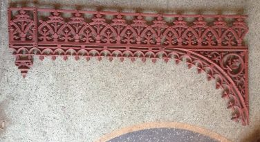 Original Victorian verandah lacework corners and valance lengths, cast iron, grit blasted and coated with structural primer, 9 corners available (w590 x H620) $95 each corner, 9 valance lengths (L670mm) $100/m, 3 drops (joining detail for the valance) $45 each. price. salvage recycled demolition, reproduction restoration, renovation, collectable, secondhand, used, original, old, reclaimed heritage, antique restored