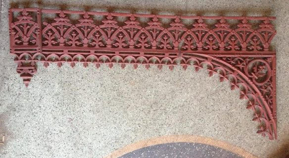 Original Victorian verandah lacework. grit blasted and coated with structural primer, 9 corners available (w590 x H620), 9 frieze (L670mm), 3 drops $50 each. Additional pieces can be recast to order please contact for recasting price. salvage recycled demolition, reproduction restoration, renovation, collectable, secondhand, used, original, old, reclaimed heritage, antique restored