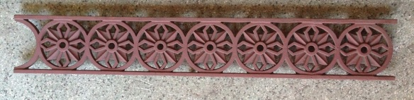 Circa 1890 cast iron verandah valance, h 150 mm , appx 11 metres available, $100 per metre