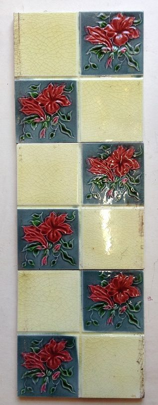original fire place tiles , 152 mm x 152 mm , 9 available , set 3 salvage recycled demolition, reproduction restoration, renovation, collectable, secondhand, used, original, old, reclaimed heritage, antique restored salvaged recycled demolition, reproduction, restoration, renovation,collectable, secondhand, used , original, old, reclaimed, heritage, antique, victorian, edwardian, georgian art nouveau ceramic arts and crafts decorative aesthetic