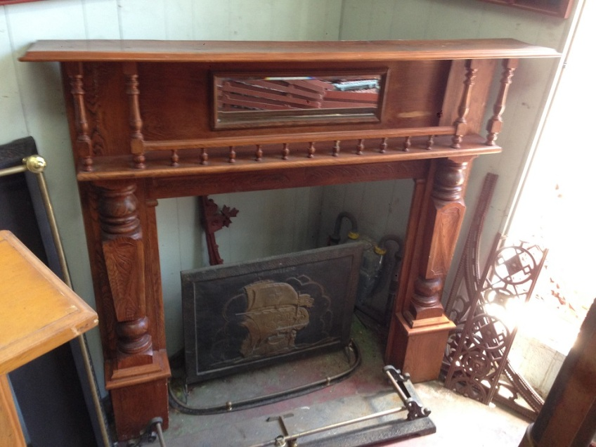 Original double shelf timber fireplace mantel/surround with turnings, top shelf length 1480mm $575 salvage recycled demolition, reproduction restoration, renovation, collectable, secondhand, used, original, old, reclaimed heritage, mantle mantel surround fireplace antique restored