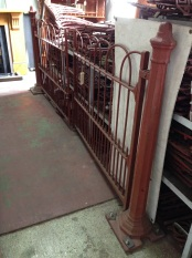 Very early original Victorian driveway gate pair with cast iron posts. Made in Adelaide. approx. gate opening w 2700mm x h 1120mm, Outside posts approx w 3200mm x h1270mm. Grit blasted and coated with structural primer $2450 salvage recycled demolition, reproduction restoration, renovation, collectable, secondhand, used, original, old, reclaimed heritage, antique restored