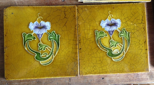 H Richards Tile Co circa 1905, simple Art Nouveau design, purple flower and foliage on deep yellow glaze $25 each SET 246 salvaged recycled demolition, reproduction, restoration, renovation,collectable, secondhand, used , original, old, reclaimed, heritage, antique, victorian, edwardian, georgian art nouveau ceramic arts and crafts decorative aesthetic
