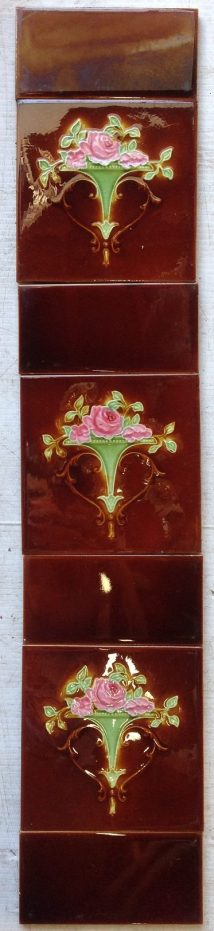 original tile set for fireplace, each side consists of 3 picture tiles and 4 plain half tiles, $200 the set. Set 25 salvage recycled demolition, reproduction restoration, renovation, collectable, secondhand, used, original, old, reclaimed heritage, antique restored