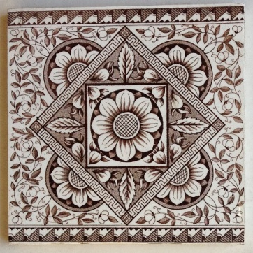 Victorian fireplace tiles, original. 6 available, excellent condition, OTB, in fireplace pair with 3 x 6inch deep brown tiles $240 or $35 each salvage recycled demolition, reproduction restoration, renovation, collectable, secondhand, used, original, old, reclaimed heritage, antique restored