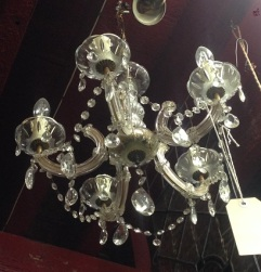 Chandelier, five branch approx. 400mm diam $175 salvaged, recycled, demolition, reproduction, restoration, home renovation secondhand, used , original, old, reclaimed, heritage, antique, victorian, art nouveau edwardian, georgian, art deco