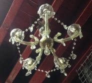 salvage recycled ON HOLD 5 branch glass chandelier, $245demolition, reproduction restoration, renovation, collectable, secondhand, used, original, old, reclaimed heritage, antique restored 5 branch glass chandelier, $245