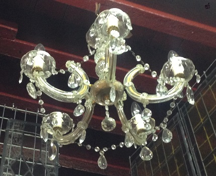 salvage recycled demolition, reproduction restoration, renovation, collectable, secondhand, used, original, old, reclaimed heritage, antique restored 5 branch , glass chandelier, appx 500 mm diameter, $ 245