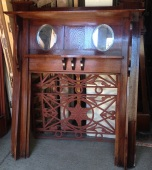 Original mantel, double shelf, twin bevel oval mirrors, w1375 x h1650mm