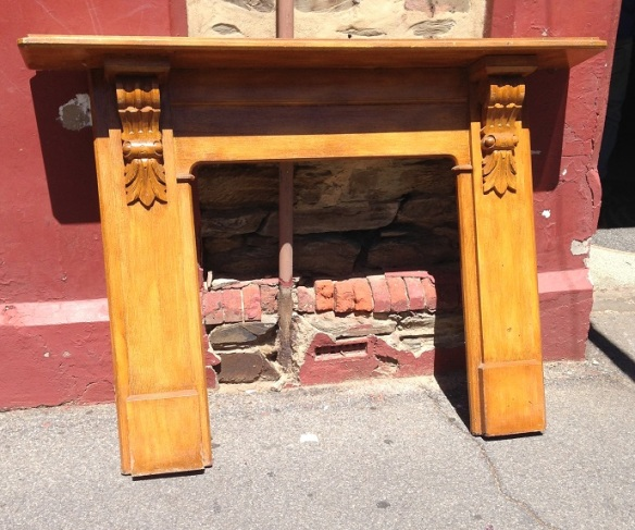 Edwardian kauri pine fireplace mantel, stripped, top shelf width 1430mm $445 salvage recycled demolition, reproduction restoration, renovation, collectable, secondhand, used, original, old, reclaimed heritage, antique restored