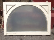 Arch window glass in frame with faint gold painted line and decorative corner detail, 647 x 913mm frame $80 salvage recycled demolition, reproduction restoration, renovation, collectable, secondhand, used, original, old, reclaimed heritage, antique restored