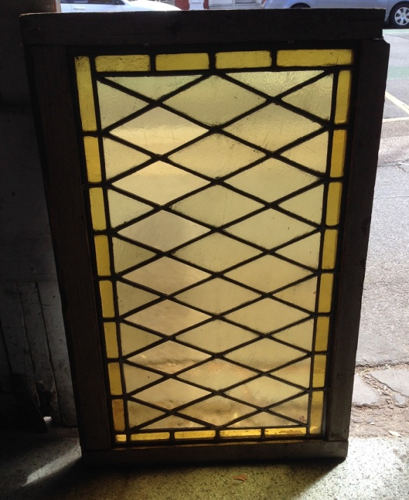 Leadlight window in frame, pale yellow diamond patterned glass with deeper yellow border. frame dimensions 600 x 910mm $240 salvage recycled demolition, reproduction restoration, renovation, collectable, secondhand, used, original, old, reclaimed heritage, antique restored