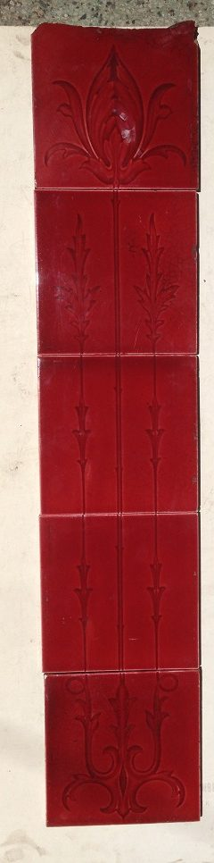 single 5 tile set, top tile has been cut, $ 80 the set. Set 21 salvage recycled demolition, reproduction restoration, renovation, collectable, secondhand, used, original, old, reclaimed heritage, antique restored salvaged recycled demolition, reproduction, restoration, renovation,collectable, secondhand, used , original, old, reclaimed, heritage, antique, victorian, edwardian, georgian art nouveau ceramic arts and crafts decorative aesthetic