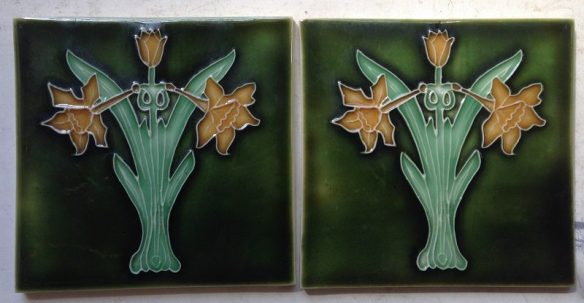 pair of Porteous picture tiles, $ 55 the pair. set18 salvage recycled demolition, reproduction restoration, renovation, collectable, secondhand, used, original, old, reclaimed heritage, antique restored