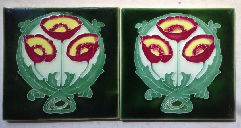 pair of Porteous tiles, 152 mm x 152 mm, $ 55 the pair, set 10 salvage recycled demolition, reproduction restoration, renovation, collectable, secondhand, used, original, old, reclaimed heritage, antique restored
