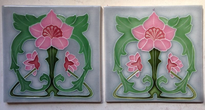 pair of porteous picture tiles, 152 mm x 152 mm , $55 the pair , set 9 salvage recycled demolition, reproduction restoration, renovation, collectable, secondhand, used, original, old, reclaimed heritage, antique restored