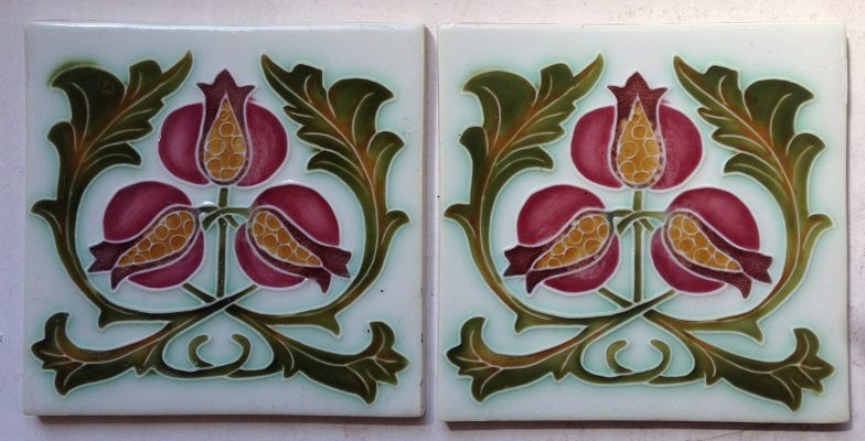 pair of original Porteous tiles $ 55 the set. Set 33 salvage recycled demolition, reproduction restoration, renovation, collectable, secondhand, used, original, old, reclaimed heritage, antique restored