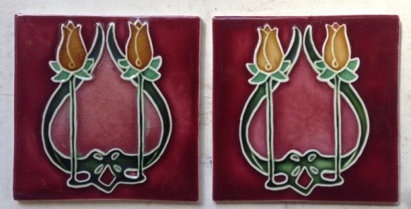 pair of fireplace tiles 152 mm x 152 mm each, $55 the pair . Set 19 salvage recycled demolition, reproduction restoration, renovation, collectable, secondhand, used, original, old, reclaimed heritage, antique restored