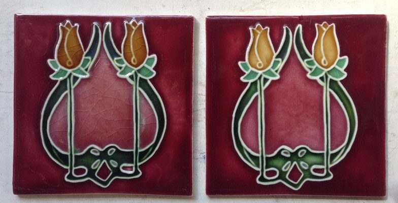 Porteous New Zealand, reproduction fireplace tiles 152 mm x 152 mm $55 pair WS