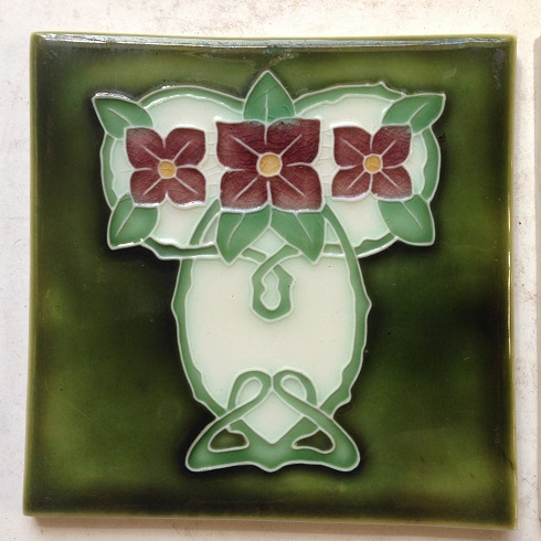 pair of original Porteous tiles, $ 55 the pair . Set 34 salvage recycled demolition, reproduction restoration, renovation, collectable, secondhand, used, original, old, reclaimed heritage, antique restored