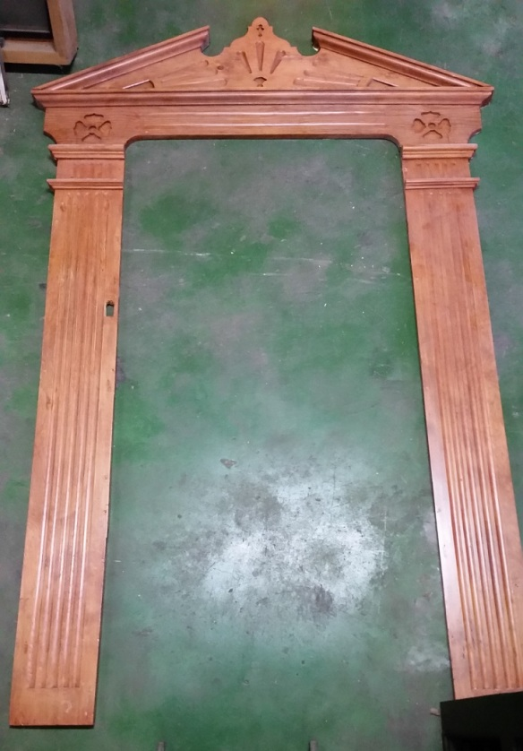 Decorative timber door surround $345 salvage recycled demolition, reproduction restoration, renovation, collectable, secondhand, used, original, old, reclaimed heritage, antique restored