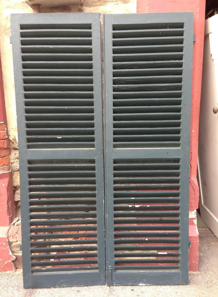 Timber window shutter pair incl hinges and latches h1885 x approx. w 1260mm, $440 pair salvage recycled demolition, reproduction restoration, renovation, collectable, secondhand, used, original, old, reclaimed heritage, antique restored