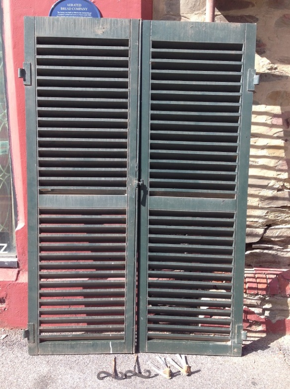 Timber window shutter pair incl. hinges and latches, h1880 x approx. w 1220mm, $220 pair (very similar to photo - needs some repair) h2005 x approx. w 1260mm, $440 pair salvage recycled demolition, reproduction restoration, renovation, collectable, secondhand, used, original, old, reclaimed heritage, antique restored salvage recycled demolition, reproduction restoration, renovation, collectable, secondhand, used, original, old, reclaimed heritage, antique restored