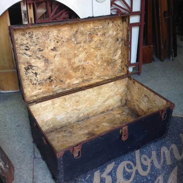 rustic old trunk, possible wood storage, corner of base is loose $30 salvage recycled demolition, reproduction restoration, renovation, collectable, secondhand, used, original, old, reclaimed heritage, antique restored
