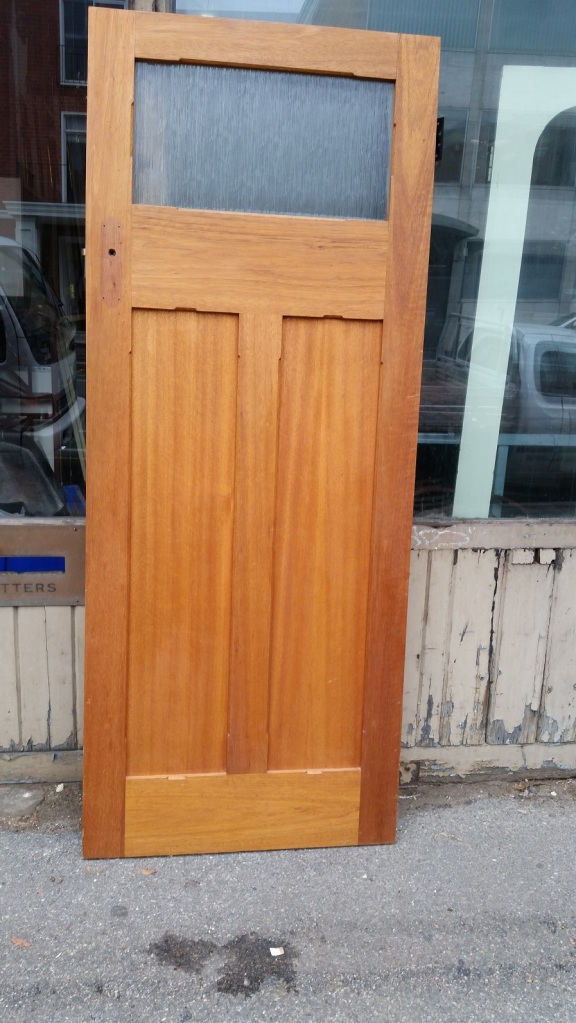 Polished internal bungalow door, glass panel 820 x 2040mm $245 salvage recycled demolition, reproduction restoration, renovation, collectable, secondhand, used, original, old, reclaimed heritage, antique restored