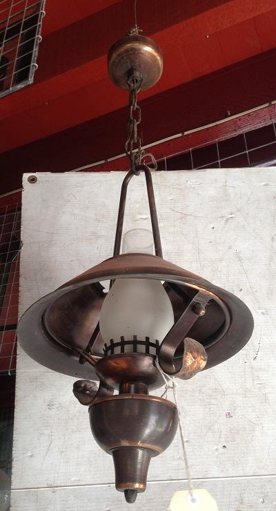 Interesting copper/bronze finish ceiling light,