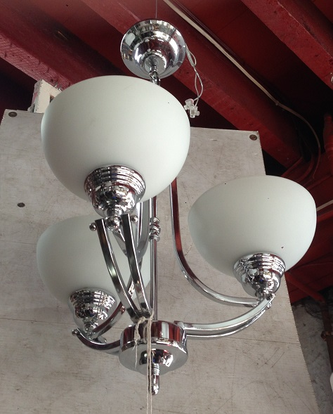 Art Deco style three arm pendant light approx. 350mm diameter $245 salvage recycled demolition, reproduction restoration, renovation, collectable, secondhand, used, original, old, reclaimed heritage, antique restored