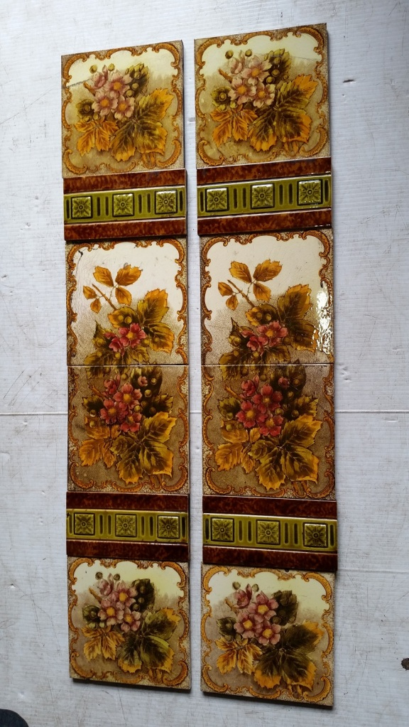 Victorian fireplace tile set $245 for both panels salvage recycled demolition, reproduction restoration, renovation, collectable, secondhand, used, original, old, reclaimed heritage, antique restored