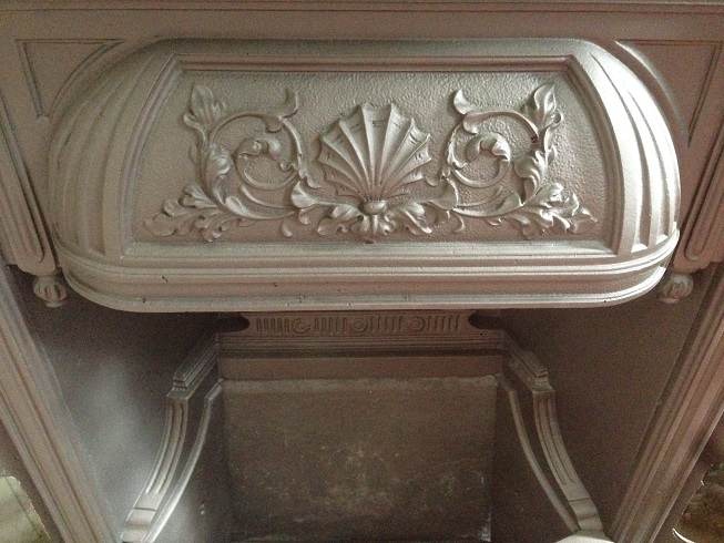 (detail) Early Victorian ornate cast iron fireplace insert, seashell motif o salvage recycled demolition, reproduction restoration, renovation, collectable, secondhand, used, original, old, reclaimed heritage, antique restoredn hood $545 salvage recycled demolition, reproduction restoration, renovation, collectable, secondhand, used, original, old, reclaimed heritage, antique restored