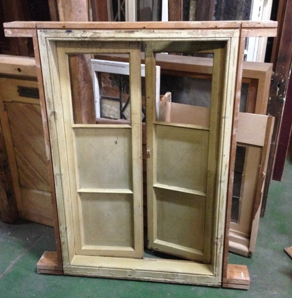 Timber casement windows in frame, upper panes missing, w780 x h1135mm $400