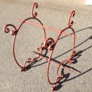 Blacksmith finely worked wrought iron table base, grit blasted and primed for painting, w725 x d575 x h715mm $440 salvage recycled demolition, reproduction restoration, renovation, collectable, secondhand, used, original, old, reclaimed heritage, antique restored